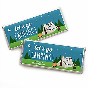Happy Camper - Personalized Candy Bar Wrapper Camping Baby Shower or Birthday Party Favors - Set of 24