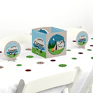 Happy Camper - Camping Baby Shower or Birthday Party Centerpiece and Table Decoration Kit
