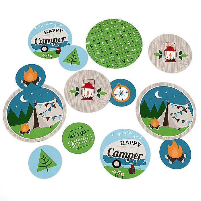 Happy Camper - Camping Baby Shower or Birthday Party Giant Circle Confetti - Party Decorations - Large Confetti 27 Count