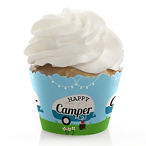 Happy Camper - Camping Baby Shower or Birthday Decorations - Party Cupcake Wrappers - Set of 12