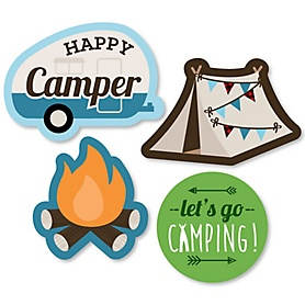 Happy Camper - DIY Shaped Camping Baby Shower or Birthday Party Cut-Outs - 24 ct