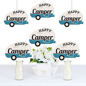 Happy Camper - Happy Camper Decorations DIY Camping Baby Shower or Birthday Party Essentials - Set of 20