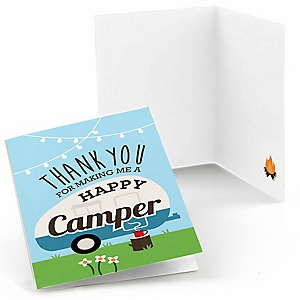 Happy Camper - Camping Baby Shower or Birthday Party Thank You Cards - 8 ct