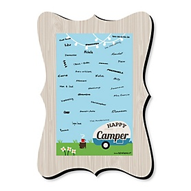 Happy Camper - Unique Alternative Guest Book - Camping Baby Shower or Birthday Party Signature Mat