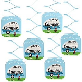 Happy Camper - Camping Baby Shower or Birthday Party Hanging Decorations - 6 ct