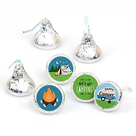 Happy Camper - Camping Baby Shower or Birthday Party Round Candy Sticker Favors - Labels Fit Hershey's Kisses  - 108 ct