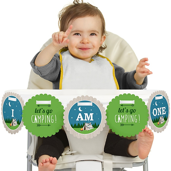 Happy Camper 1st Birthday - I am One - Camping Baby Shower or Birthday Party First Birthday High Chair Birthday Banner