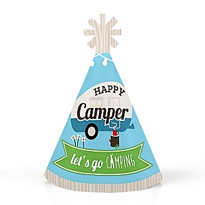 Happy Camper - Personalized Mini Cone Camping Baby Shower or Birthday Party Hats - Small Little Party Hats - Set of 10