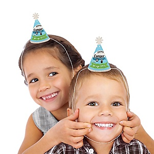 Happy Camper - Mini Cone Camping Baby Shower or Birthday Party Hats - Small Little Party Hats - Set of 8