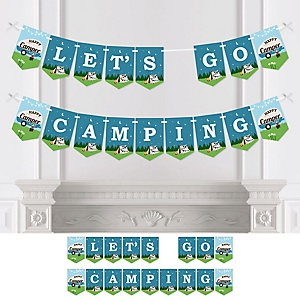Happy Camper - Camping Party Bunting Banner - Party Decorations - Let's Go Camping