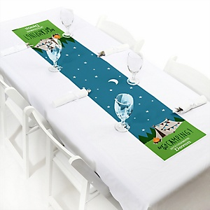 "Happy Camper - Personalized Petite Camping Baby Shower or Birthday Party Table Runner - 12"" x 60"""
