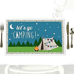 Happy Camper - Party Table Decorations - Camping Baby Shower or Birthday Party Placemats - Set of 12