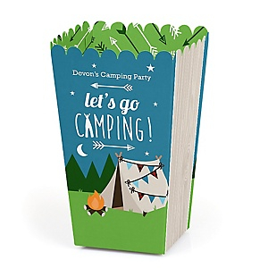 Happy Camper - Personalized Camping Baby Shower or Birthday Party Popcorn Favor Treat Boxes - Set of 12