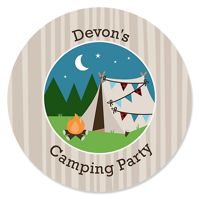 Happy Camper - Personalized Camping Baby Shower or Birthday Party Sticker Labels - 24 ct