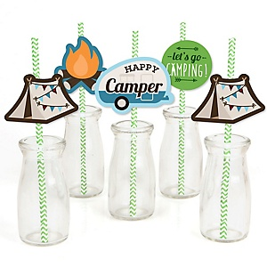 Happy Camper - Paper Straw Decor - Camping Baby Shower or Birthday Party Striped Decorative Straws - Set of 24