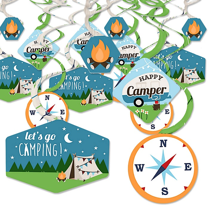 Happy Camper - Camping Baby Shower or Birthday Party Hanging Decor - Party Decoration Swirls - Set of 40
