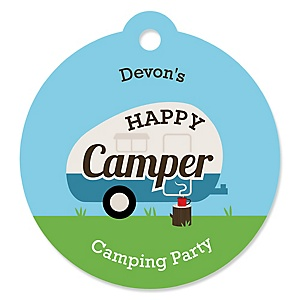 Happy Camper - Personalized Camping Baby Shower or Birthday Party Favor Gift Tags - 20 ct