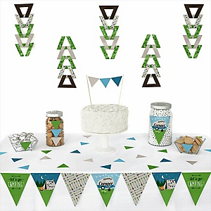 Happy Camper -  Triangle Camping Baby Shower or Birthday Party Decoration Kit - 72 Piece