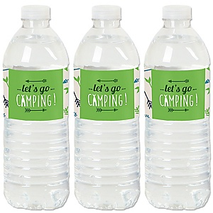 Happy Camper - Camping Baby Shower or Birthday Party Water Bottle Sticker Labels - Set of 20