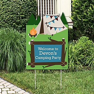 Happy Camper - Party Decorations - Camping Baby Shower or Birthday Party Personalized Welcome Yard Sign