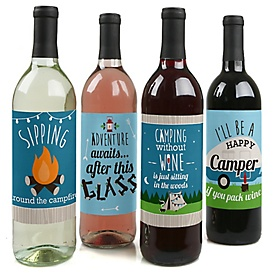 Happy Camper - Camping Baby Shower or Birthday Party Decorations for Women and Men - Wine Bottle Label Stickers - Set of 4