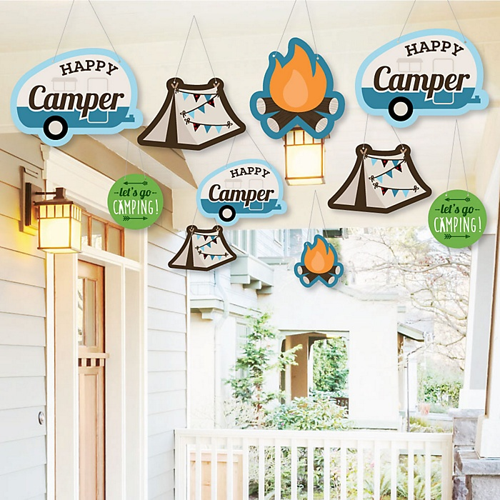 Hanging Happy Camper - Outdoor Camping Baby Shower or Birthday Party Hanging Porch & Tree Yard Decorations - 10 Pieces