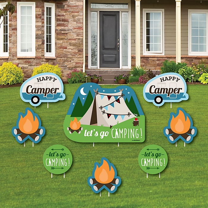 Happy Camper - Yard Sign & Outdoor Lawn Decorations - Camping Baby Shower or Birthday Party Yard Signs - Set of 8