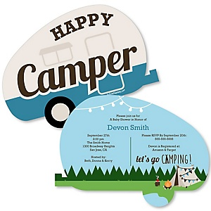 Happy Camper - Shaped Camping Baby Shower Invitations - Set of 12
