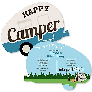 Happy Camper - Shaped Camping Birthday Party Invitations - Set of 12