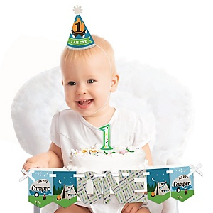 Happy Camper 1st Birthday - First Birthday Boy Smash Cake Decorating Kit - High Chair Decorations