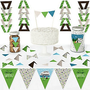 Happy Camper - DIY  Pennant Banner Decorations - Camping Baby Shower or Birthday Party Triangle Kit - 99 Pieces