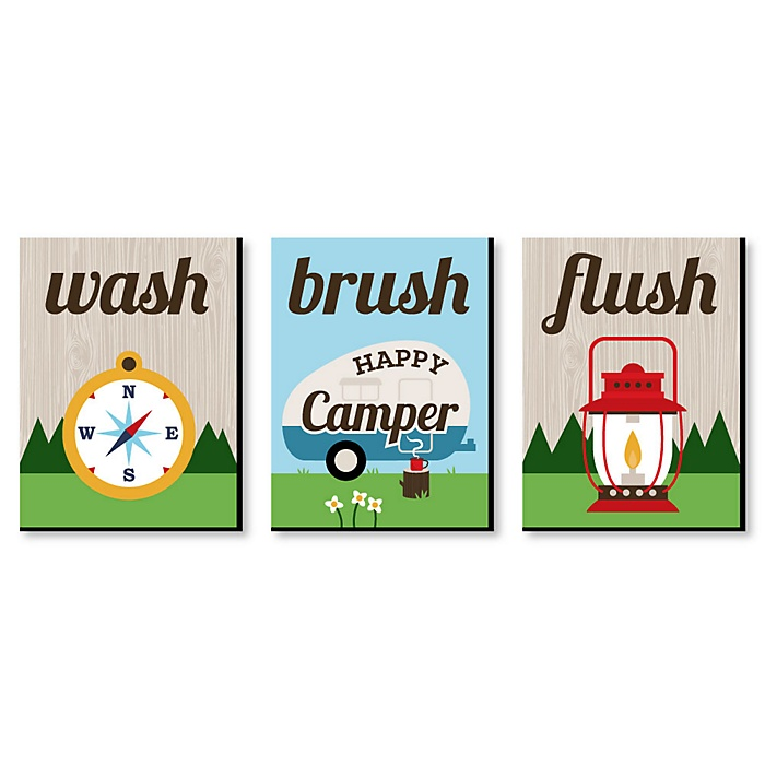 Happy Camper - Kids Bathroom Rules Wall Art - 7.5 x 10 inches - Set of 3 Signs - Wash, Brush, Flush