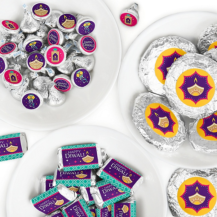 Happy Diwali - Mini Candy Bar Wrappers, Round Candy Stickers and Circle Stickers - Festival of Lights Party Candy Favor Sticker Kit - 304 Pieces