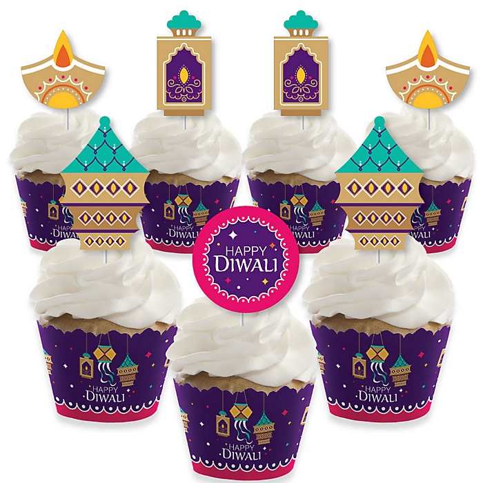 Happy Diwali - Cupcake Decorations - Festival of Lights Party Cupcake Wrappers and Treat Picks Kit - Set of 24