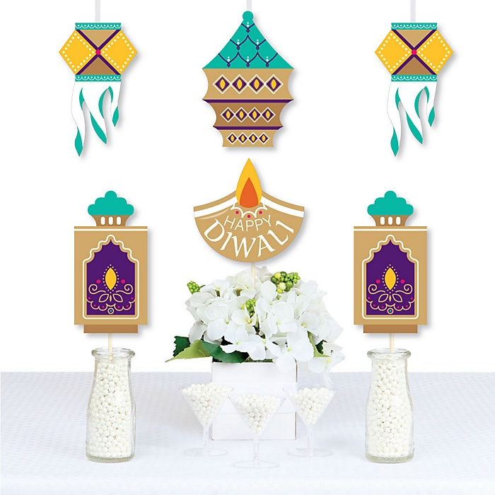 Happy Diwali - Diya Candle and Lanterns Decorations DIY Festival of Lights Party Essentials - Set of 20
