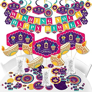 Happy Diwali - Festival of Lights Party Supplies - Banner Decoration Kit - Fundle Bundle
