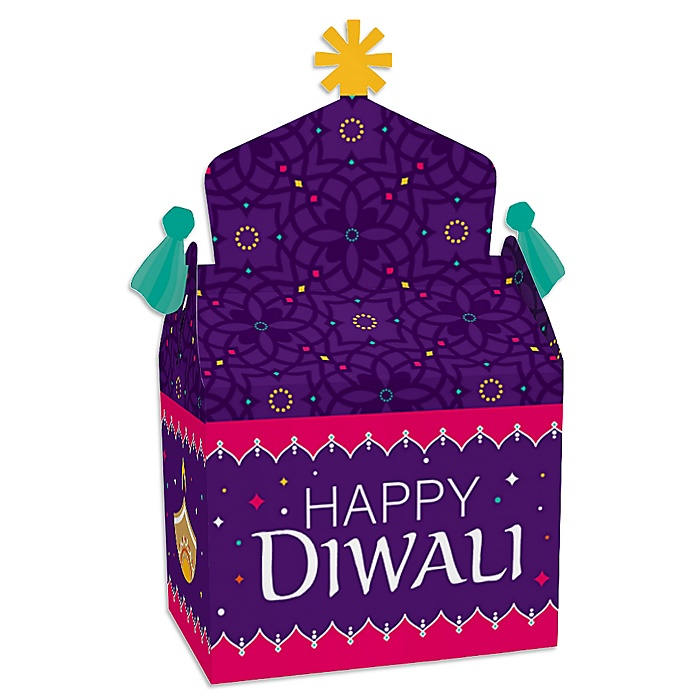 Happy Diwali - Treat Box Party Favors - Festival of Lights Party Goodie Gable Boxes - Set of 12