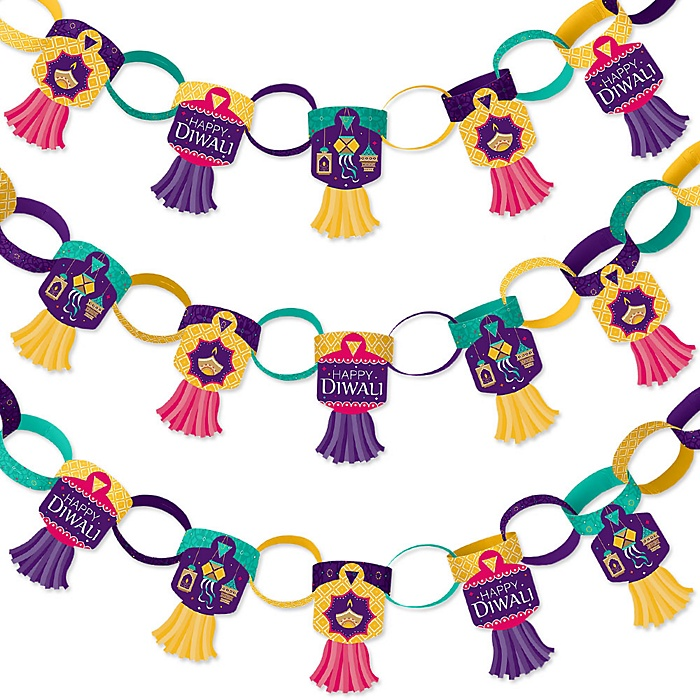 Happy Diwali - 90 Chain Links and 30 Paper Tassels Decoration Kit - Festival of Lights Party Paper Chains Garland - 21 feet