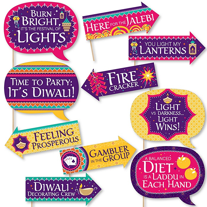 Funny Happy Diwali - Festival of Lights Party Photo Booth Props Kit - 10 Piece