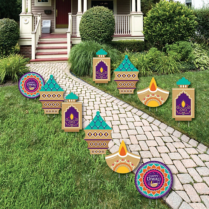 Happy Diwali - Diya Candles Lawn Decorations - Outdoor Festival of Lights Party Yard Decorations - 10 Piece