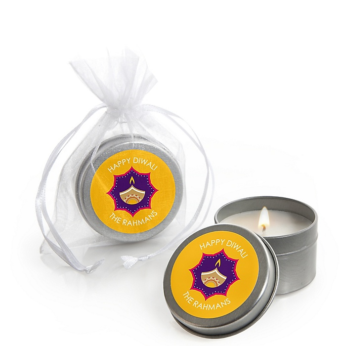 Happy Diwali - Candle Tin Festival of Lights Party Favors - Set of 12