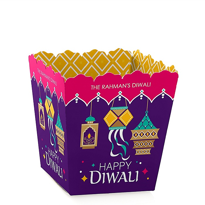 Happy Diwali - Party Mini Favor Boxes - Personalized Festival of Lights Party Treat Candy Boxes - Set of 12