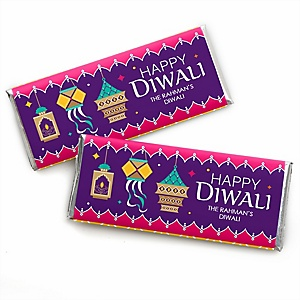 Happy Diwali - Personalized Candy Bar Wrapper Festival of Lights Party Favors - Set of 24