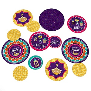Happy Diwali - Festival of Lights Giant Circle Confetti - Party Decorations - Large Confetti 27 Count