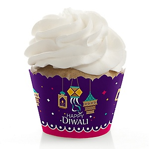 Happy Diwali - Festival of Lights Party Decorations - Party Cupcake Wrappers - Set of 12