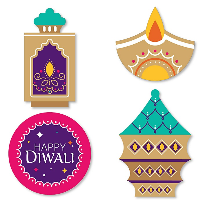 Happy Diwali - DIY Shaped Festival of Lights Party Cut-Outs - 24 ct