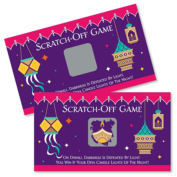 Happy Diwali - Festival of Lights Party Scratch Off Cards - 22 Cards
