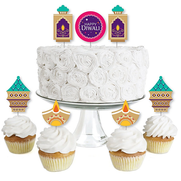 Happy Diwali - Dessert Cupcake Toppers - Festival of Lights Party Clear Treat Picks - Set of 24