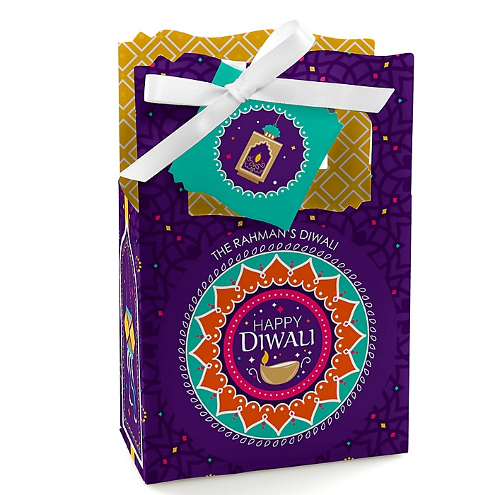 Happy Diwali - Personalized Festival of Lights Party Favor Boxes - Set of 12