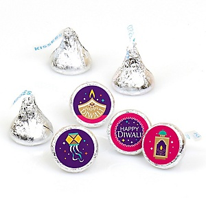 Happy Diwali - Round Candy Labels Festival of Lights Party Favors - Fits Hershey's Kisses - 108 ct